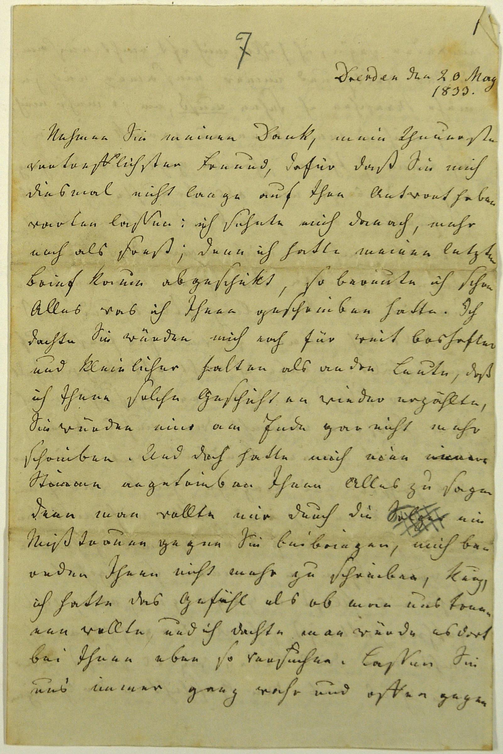 Brief Von Dorothea Tieck An Friedrich Von Uechtritz Dresden 20