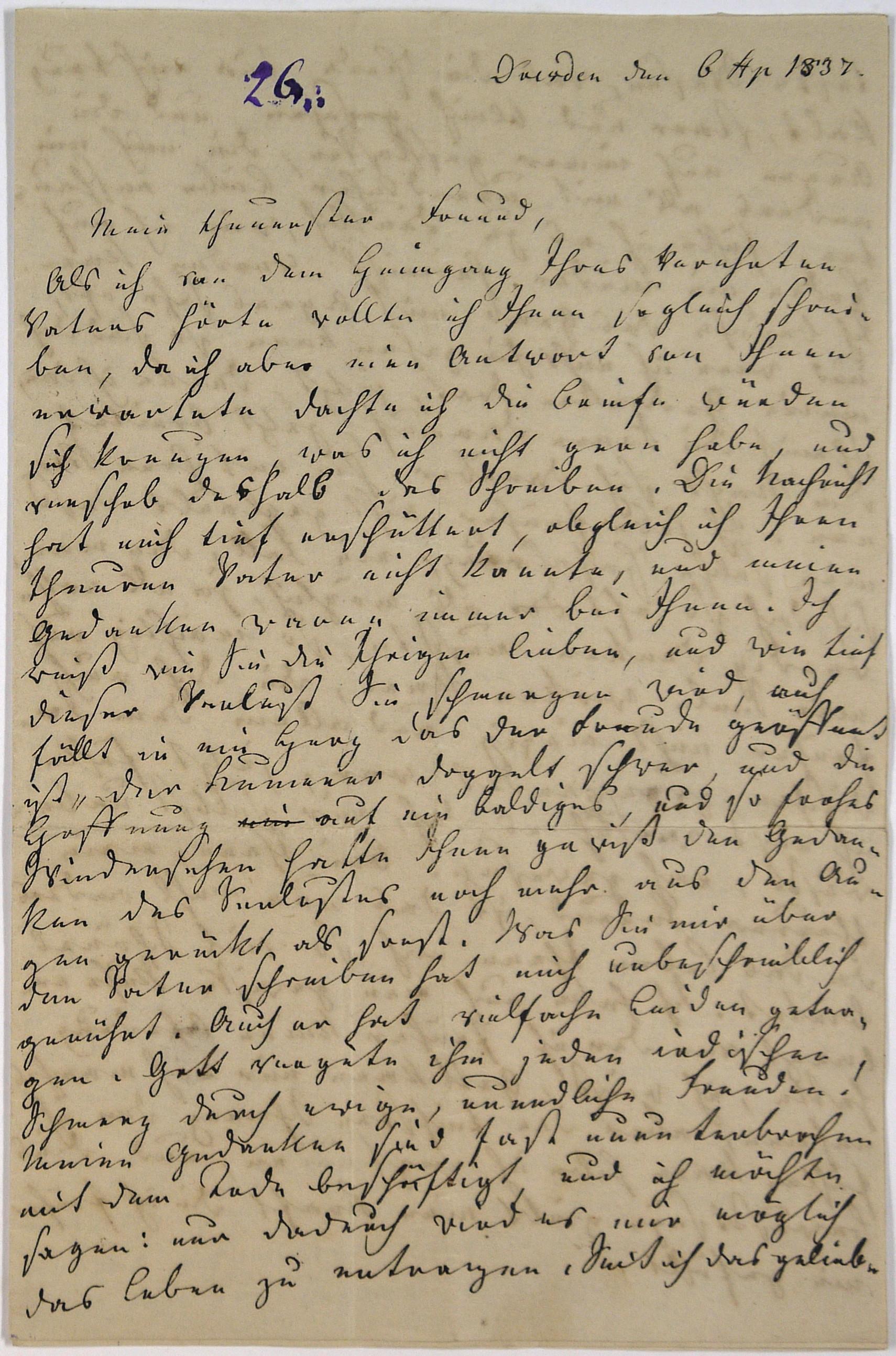 Brief Von Dorothea Tieck An Friedrich Von Uechtritz Dresden 6